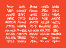 Custom lettering of the names of the American states, USA typogr Stock Photos