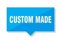 Custom made price tag. Custom made blue square price tag Stock Photography