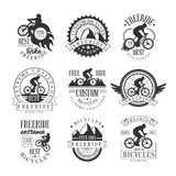 Custom Made Free Ride Bike Shop Black And White Sign Design Templates With Text And Tools Silhouettes Stock Photo