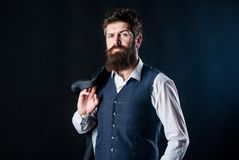Custom made suit. Man bearded hipster wear formal suit with shirt vest and jacket. Elegant custom outfit fashion. Tailoring and clothes design. Custom made to royalty free stock photos