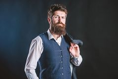 Custom made suit. Man bearded hipster wear formal suit with shirt vest and jacket. Elegant custom outfit fashion. Tailoring and clothes design. Custom made to royalty free stock image