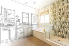 Custom Master Bathroom Design Drawing Gradating to a Photograph. Custom Master Bathroom Design Drawing Gradating to Finished Photo stock illustration