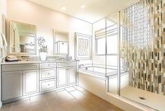 Custom Master Bathroom Photo With Brush Stroke to Design Drawing.  vector illustration