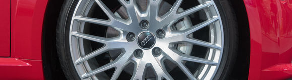 Custom Matte Finish Wheel Rims on an Audi Luxury Car Stock Images