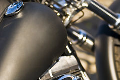 Custom Motorbike. Harley Davidson custom motorbike with chromed motor and suspensions - shot in Trieste - 2007 Royalty Free Stock Photos