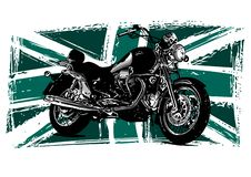 Custom Motorbike with great britain flag in background vector illustration
