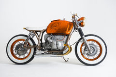 Custom motorbike. Custom orange BMW motorbike Rothchild royalty free stock images