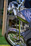 Custom Motorcycle. Gorgeous custom chopper motorcycle front view Royalty Free Stock Photos