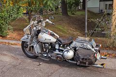 Custom motorcycle Harley-Davidson FL Electra Glide. Parked during the rally `Citta di Meldola` on October 10, 2017 in Meldola FC, Italy Stock Image