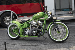 Custom motorcycle. Picture of green custom harley davidson in display during the grand national show at sanair, quebec, canada august 29-30 2015 Stock Photos