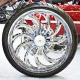 Custom Motorcycle Wheel Chrome Disc Royalty Free Stock Photos