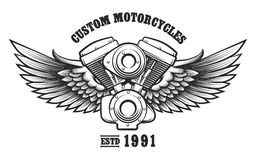 Custom Motorcycle workshop Emblem. Motorcycle engine and wings in tattoo style with wording Custom Motorcycle workshop. Emblem, symbol, workshop design element Royalty Free Stock Photo