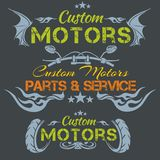 Custom motors - vector emblem set. Stock Photo