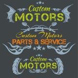 Custom motors - vector emblem set. Stock Photo