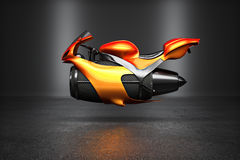 Custom orange futuristic turbine jet bike Stock Photos