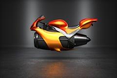 Custom orange futuristic turbine jet bike Stock Photos