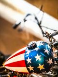 Custom painted chopper wearing the American flag stock photos