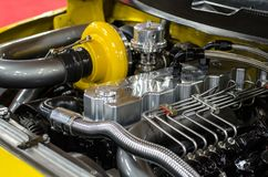 Custom Race Truck with Diesel Engine and Turbo. A view of a custom setup of a race truck that has a modified engine and turbo installed royalty free stock photo