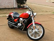 Custom Red Cruiser Motorcycle Stock Image