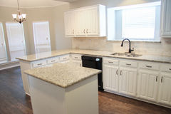 Custom remodeled kitchen. With granite counter tops Stock Image