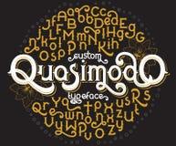 Custom retro typeface Quasimodo Royalty Free Stock Image