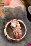 Custom Rose Gold Wedding Rings Jewelry Stock Photography