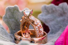 Custom Rose Gold Wedding Rings Jewelry Royalty Free Stock Image