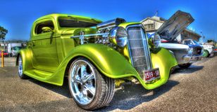 Custom 1930s American Chevy hot rod. Custom 1930s green American made Chevy on display at a car show in Melbourne, Australia Royalty Free Stock Image