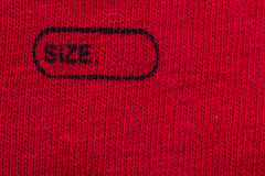 Custom Size. Macro Photo Of A Clothing Label Showing The Text Size. You Can Write The Size You Need Royalty Free Stock Photo