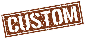 Custom square grunge stamp. Custom square grunge brown stamp Royalty Free Stock Images