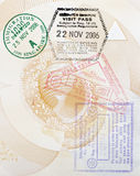 Custom Stamps In Passport. Multiple Asian Custom Stamps In An Australian Passport Page, Background Royalty Free Stock Image