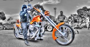Custom style motorbike and rider Royalty Free Stock Photos