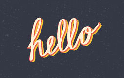 Custom stylized vintage Hello lettering Stock Image