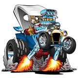 Custom T-bucket Roadster Hotrod Cartoon Vector Illustration. Hot classic style T-bucket roadster car cartoon, popping a wheelie, flames shooting from the huge royalty free illustration