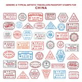 Custom vector typical artistic passport arrival and departure stamps variations set for China.  stock illustration
