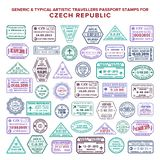 Custom vector typical artistic passport arrival and departure stamps variations set for Czech Republic.  royalty free illustration