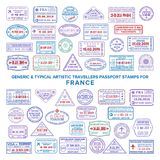 Custom vector typical artistic passport arrival and departure stamps variations set for France.  royalty free illustration