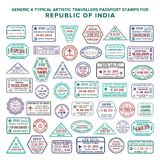 Custom vector typical artistic passport arrival and departure stamps variations set for India.  vector illustration