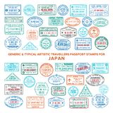 Custom vector typical artistic passport arrival and departure stamps variations set for Japan.  royalty free illustration