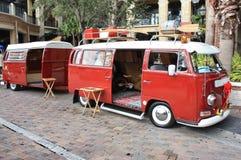 Custom Volkswagen. Anold custom volkswagen bus with trailer Stock Photo