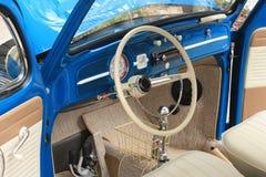 Custom Volkswagen. An old custom blue volkswagen dash board area Royalty Free Stock Images