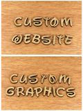 Custom website graphics business wood letters. Custom graphics website web internet computer online instruction learning small home business education teaching Royalty Free Stock Image