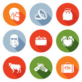 Custom wedding - bride price Icons Set. Vector Stock Photography