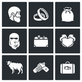 Custom wedding - bride price icons. Vector Illustration. Royalty Free Stock Photography
