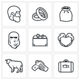 Custom wedding - bride price icons. Vector Illustration. Royalty Free Stock Image
