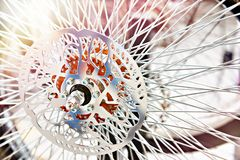 Custom wheel with spokes for bicycle. In store royalty free stock photos