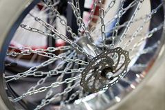 Custom wheel with spokes chains for bicycle Royalty Free Stock Image