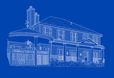 Custom White House Drawing on Blue Stock Images