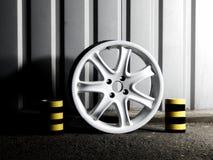 Custom white wheel demounted from sport car Stock Photos