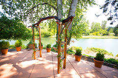 Custom Wood Wedding Pergola Altar Royalty Free Stock Photography